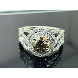 Suzy Levian Engagement Ring Brown Cubic Zirconia 8